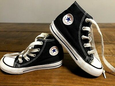 CONVERSE ALL STAR LACE UP HIGH TOP SNEAKERS Black Toddler Size 7 Shoes EUC