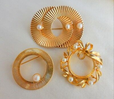 Lot Of 3 Vintage Goldtone And Faux Pearl Cultured Pearl Brooches Pins