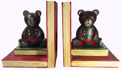 Teddy Bear Bookends Hand Painted Carved Wood Large 23 x 20 cm