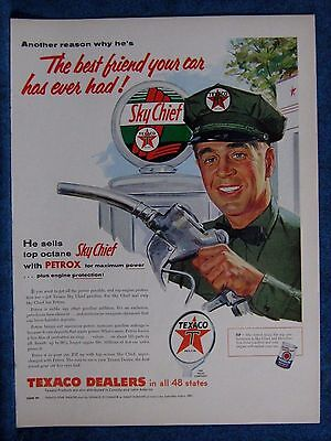 1955 Texaco Ad  Sky Chief Gasoline Glass Globe And Pump Shown  ~ Ideal For Frame