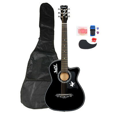 US 38in Black Beginner Acoustic Guitar Kit w/ Case, Strap, LCD Tuner, Pick