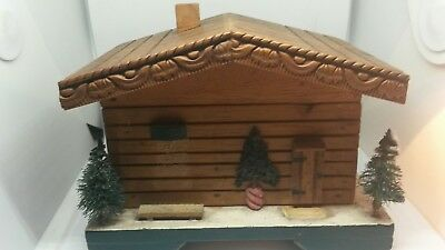 Vintage Swiss Chalet Cottage Log Cabin Musical  Jewellery Trinket Box 1950s