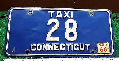 CONNECTICUT - 1966 TAXI license plate - nice all original number 28