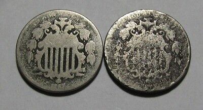 1867 & 1873 Shield Nickel - About Good Condition - 58SA