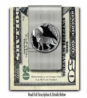 LONE WOLF SPIRIT MOON STAINLESS STEEL MONEY CLIP WOLVES GIFT SALE - FREE SHIP Es
