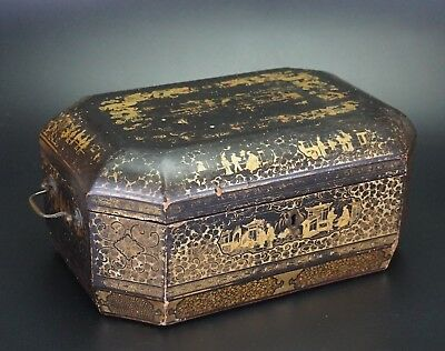 Antique Chinese Export Wood Lacquer Dragon Tea Caddy & Cover & Canisters 19th C