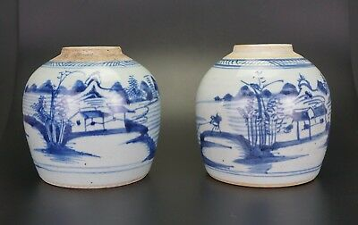 PAIR Antique Chinese Blue and White Porcelain Ginger Jar Vase 18th C