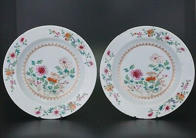 PAIR Antique Chinese Famille Rose Porcelain Flower Plate QIANLONG 18th C QING