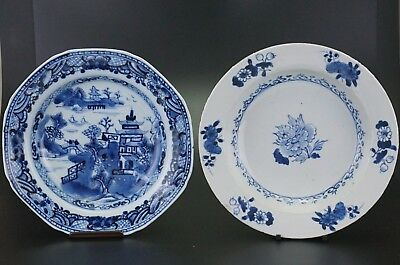 PAIR Antique Chinese Blue and White Porcelain Flower Plate Marked 18th C QING