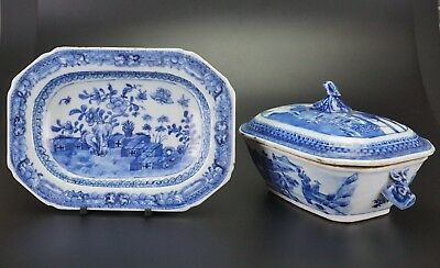 Set Antique Chinese Blue and White Porcelain Tureen & Lid Plate QIANLONG 18th C
