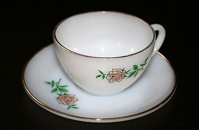 Vintage Anchor Hocking Glass Fire King Anniversary Rose Cup and Saucer Excellent