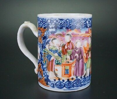 Antique Chinese Blue and White Famille Rose Porcelain Mug Qianlong 18th C