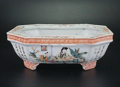 Antique Chinese Famille Rose Porcelain Narcissus Flower Pot Vase Marked 20th C