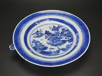 Antique Chinese Porcelain Blue and White Warming Dish Plate 18th C