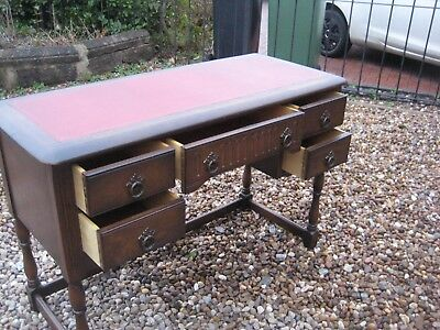 Mid Century Leather Topped Desk.  Free Local Delivery