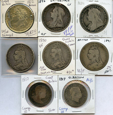 Great Britain 1817-1896 Crowns & Half Crown Silver 8 Coins Collection Lot.