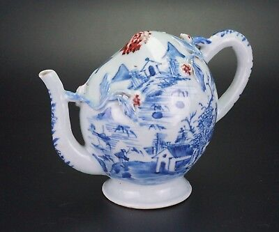 Antique Chinese Blue and White Copper Red Porcelain Peach Gadogan Teapot 18th C