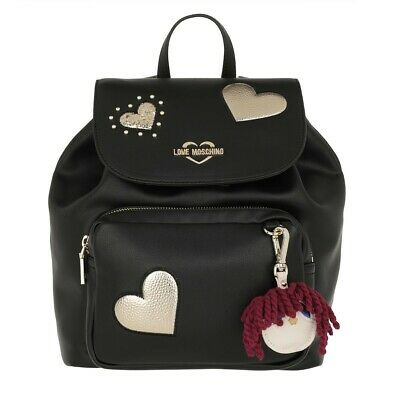 91198ea0dc Borsa Donna Love Moschino Zaino Ecopelle Nero/ Gold Con Pattina Bs19Mo29