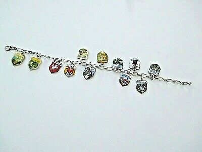BETTELARMBAND ° 835 ° 12 CHARMS - WAPPEN ° SILBER ARMBAND ° Emaille