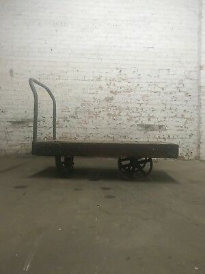 Larger Wooden and Metal Push Cart, Vintage, Industrial Decor