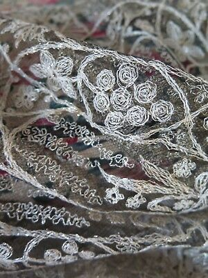 Antique french silver wire metal Lace - Antik Spitze Metall Silber Klosterarbeit