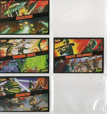 Mars Attacks! Occupation - Lot Of 4 Different Then And Now! Chase Cards NM
