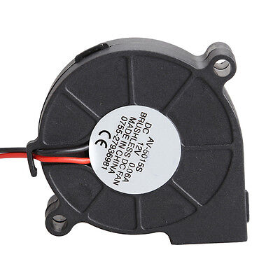 Black Brushless DC Cooling Blower Fan 2 Wires 5015S 12V 0.12A A 50x15mm HF