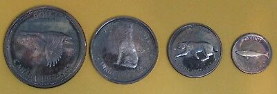 1967 Canada 4 Coin Silver Set $1, .50, .25, .10 Cent coins All Toned