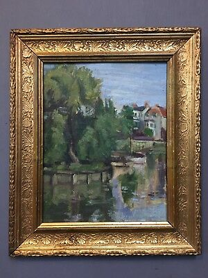 Antique 19th Century French Oil On Board Painting In Gold Gilt Frame