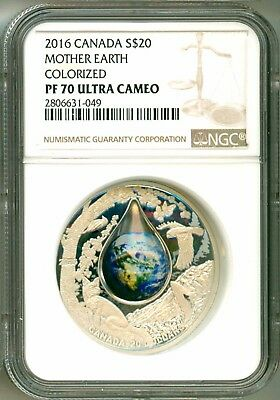 2016 Canada S$20 Mother Earth 3D Dome Colorized NGC PF70 Ultra Cameo Box COA OGP