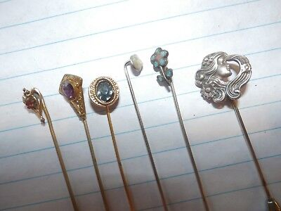 Group Lot Vintage Antique Hat Pins Hatpin Hairpins Rhinestone & Sterling Silver