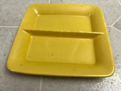 Vintage STANGL Ashtray Divided Dish Square Plate Yellow