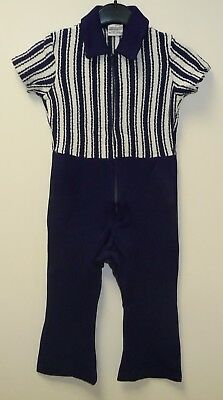 AUTHENTIC VINTAGE 1970's UNWORN MOTHERCARE BLUE & WHITE PLAYSUIT AGE 2-3 YEARS