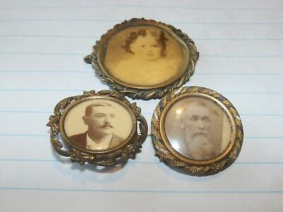 Group Lot 3 Vintage Antique Victorian Mourning Pins Brooch Photograph Image
