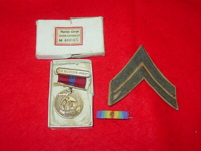 Boxed WWI USMC Good Conduct Medal ID'D Grouping