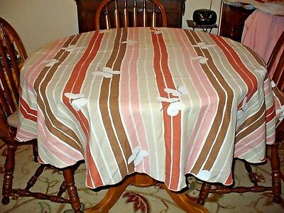 Vintage Vera Tablecloth Earth Tone Stripes & Butterflies Mid Century Oval
