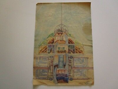 Antique Painting Drawing Futuristic Ship Design 1940's Signed Brovko Russian?