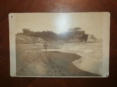 Vintage Antique Photograph Inamuragasaki Beach Cove Japan Cabinet Card