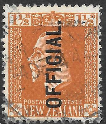 NEW ZEALAND 1934 1 1/2d OFFICIAL Cowan P.14*15 used 1934 CDS. SG O97b. Cat.£45.
