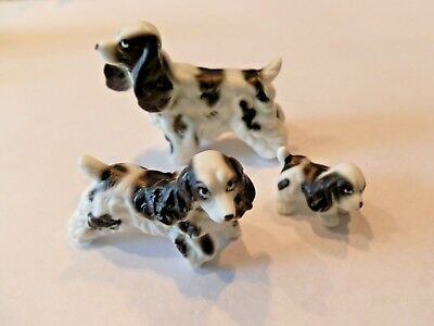 Bone China 3 Piece Springer Spaniel Dog Family Figurines