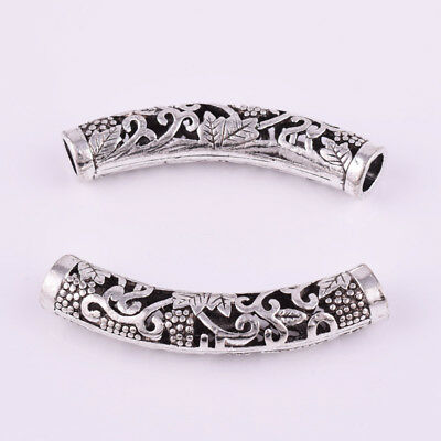 New 2pcs Tibetan Silver Hollow Bend Big Tube Charm Spacer Beads Jewelry 49x9mm