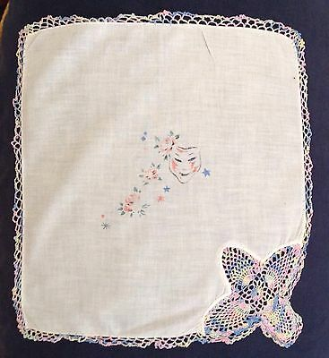 Lovely Vintage White Pastel Crocheted Lace Theater Mask Print Hanky Handkerchief