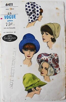 Vogue 6411 Original John Frederics Hats Millenery Sewing Pattern UC FF Sz 23