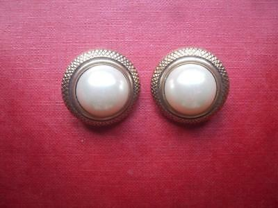 Pair of Imitation Pearl and Brass Coloured Clip-on Earrings