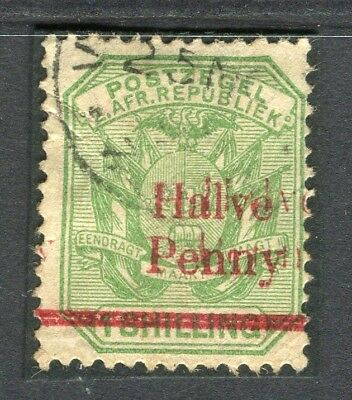 TRANSVAAL; 1895 early surcharged issue DOUBLE ' Halve Penny ' fine used