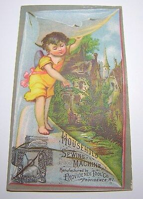 Antique Victorian Household Sewing Machine Advertising Trade Card
