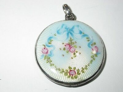 c1910 Gorgeous Antique STERLING Hand Painted ENAMEL GUILLOCHE Roses LOCKET