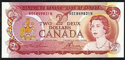 1974 Canada 2 Deux Dollars Note Pick 86  Superb Mint Condition !