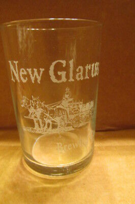Etched New Glarus Brewing Co Beer Glass Horse Wagon Team