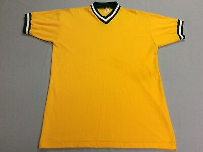 Vtg 70S 80S Russell Athletic Baseball Style Yellow Nylon Jersey Shirt Mens Xl
